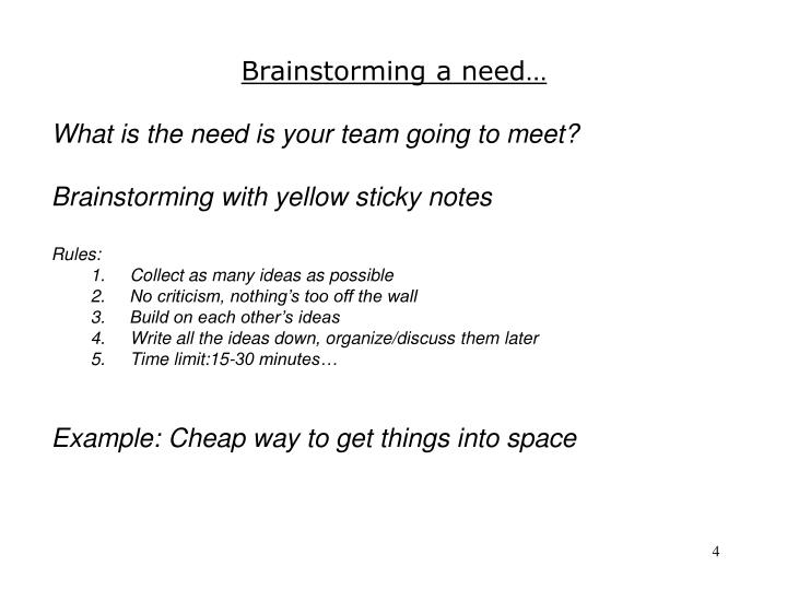 Brainstorming a need…