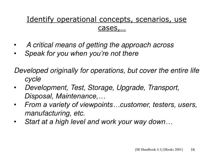 Identify operational concepts, scenarios, use cases,…