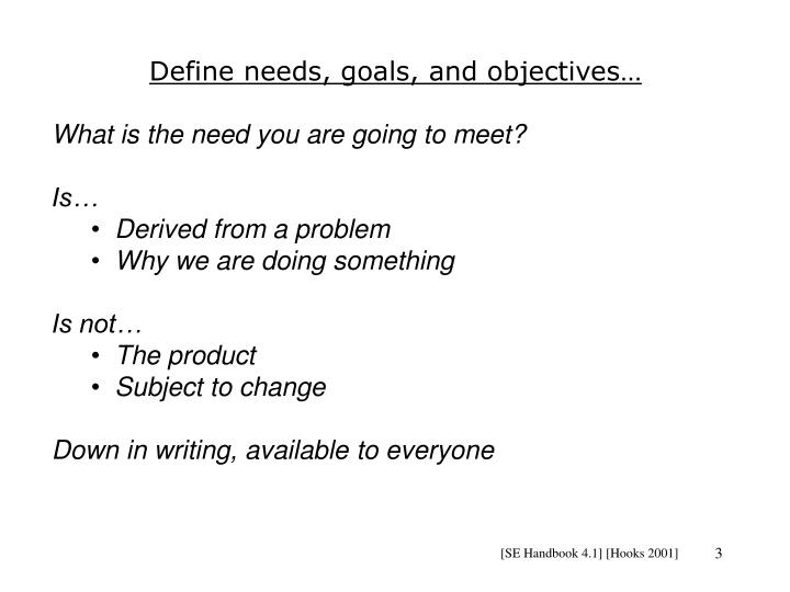 Define needs, goals, and objectives…