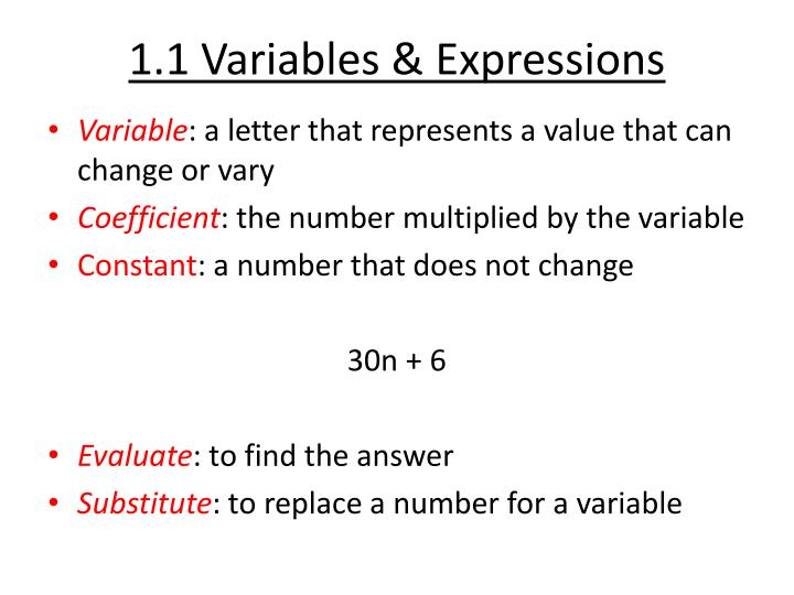 1.1 Variables & Expressions
