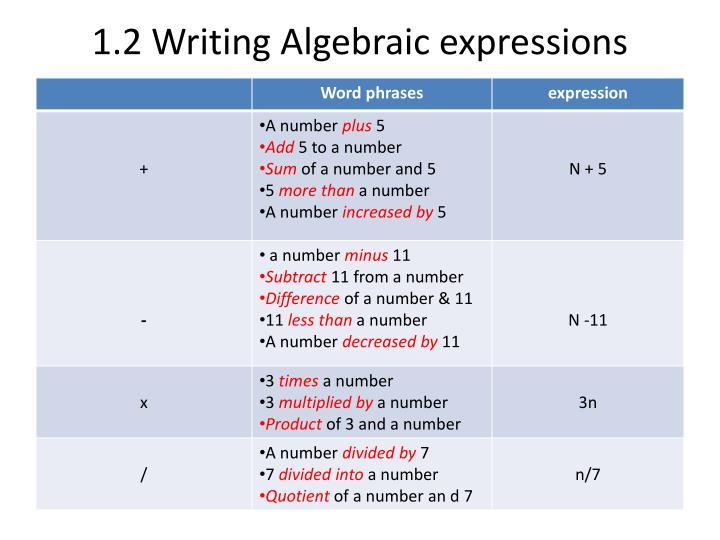 1.2 Writing Algebraic expressions
