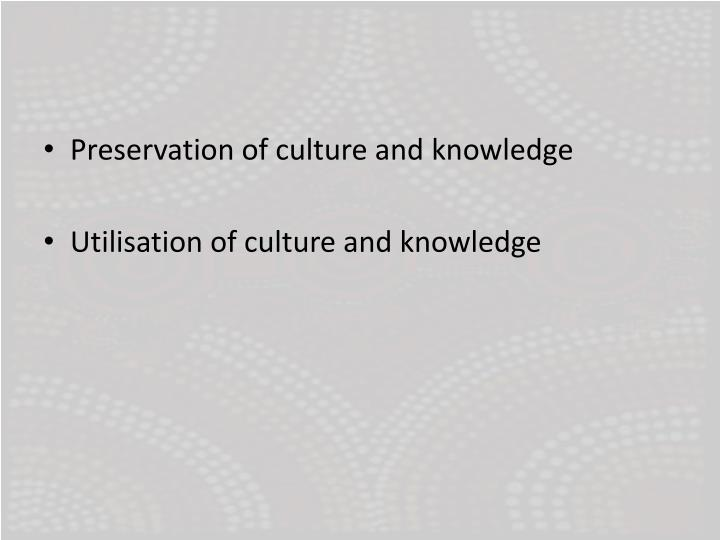 Preservation of culture and knowledge