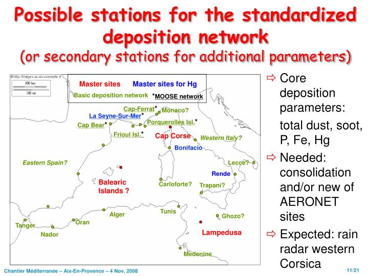 Possible stations for the standardized deposition network