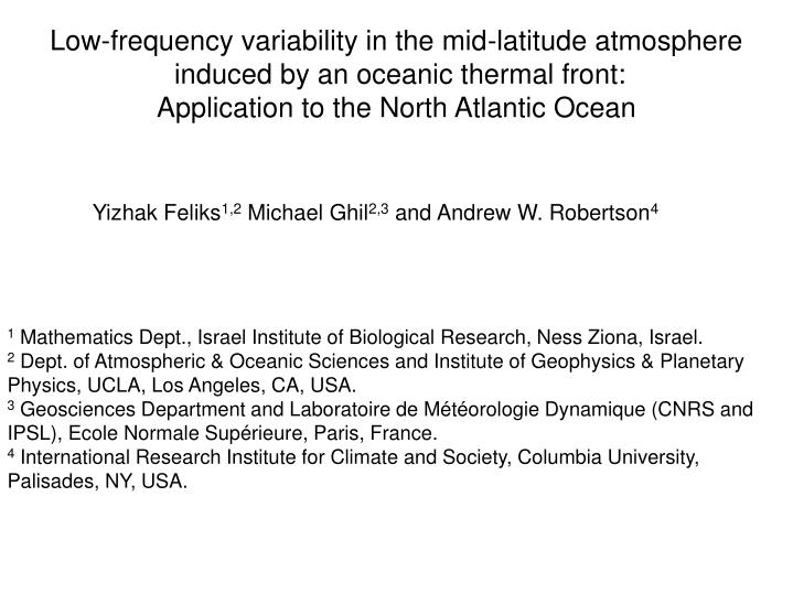 Low-frequency variability in the mid-latitude atmosphere