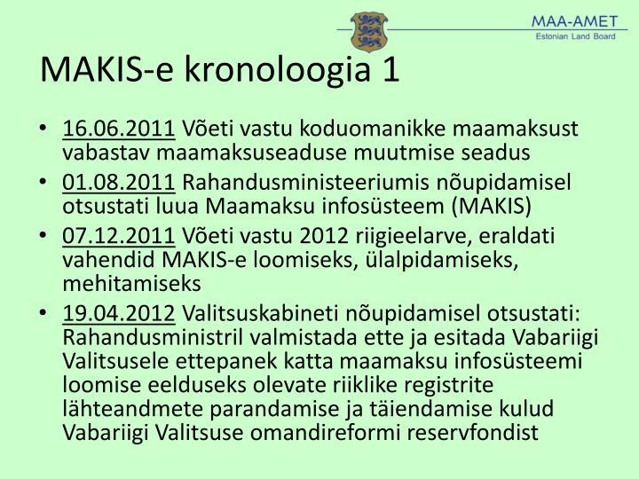 MAKIS-e kronoloogia 1