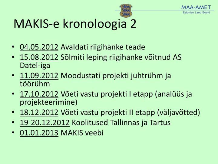 MAKIS-e kronoloogia 2