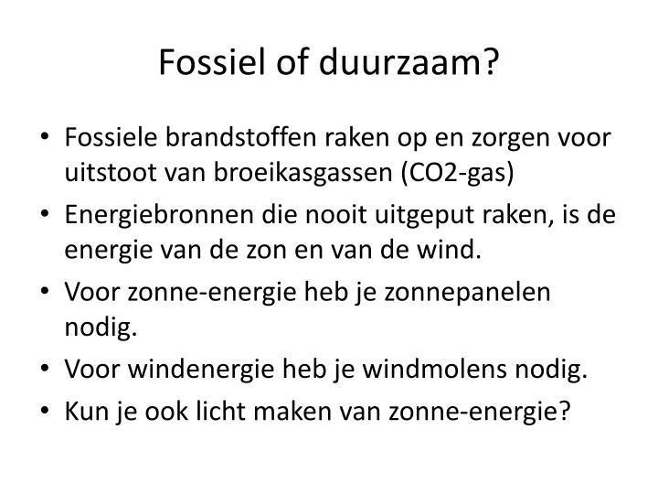 Fossiel of duurzaam?