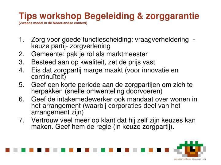 Tips workshop Begeleiding &