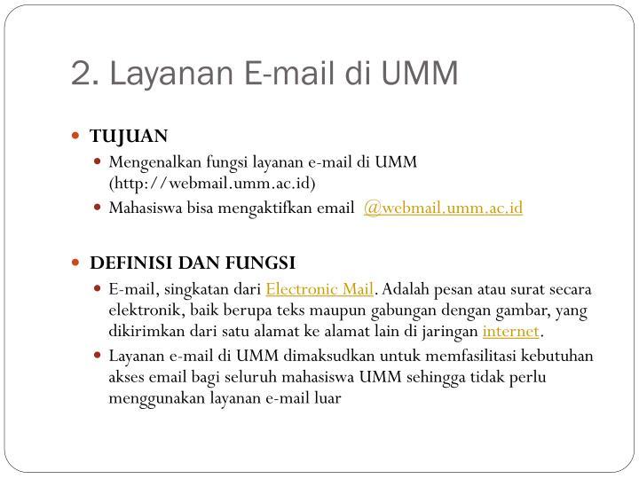 2. Layanan E-mail di UMM
