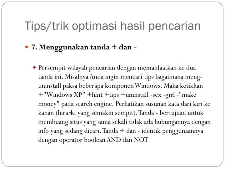 Tips/trik optimasi hasil pencarian