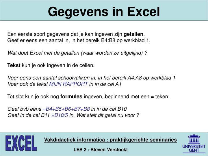 Gegevens in Excel