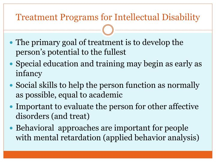 Treatment Programs for Intellectual Disability