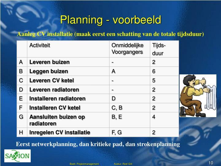 Planning - voorbeeld