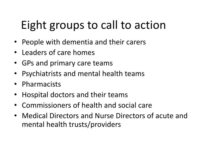 Eight groups to call to action