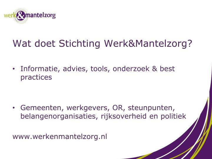 Wat doet Stichting Werk&Mantelzorg?
