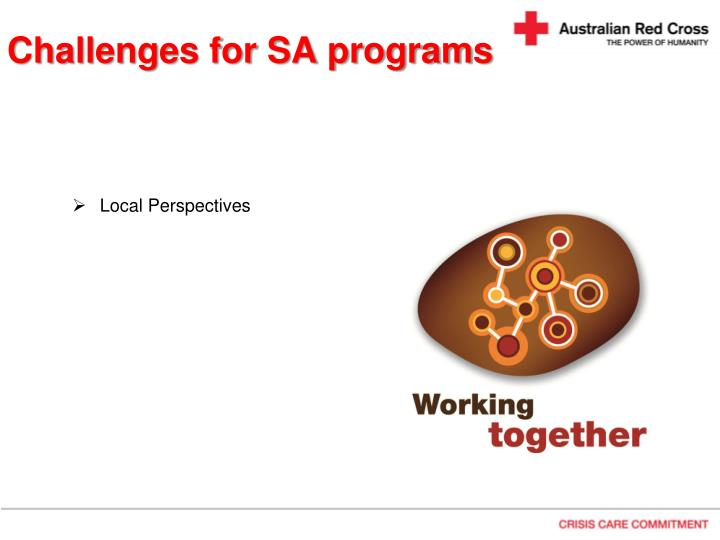 Challenges for SA programs