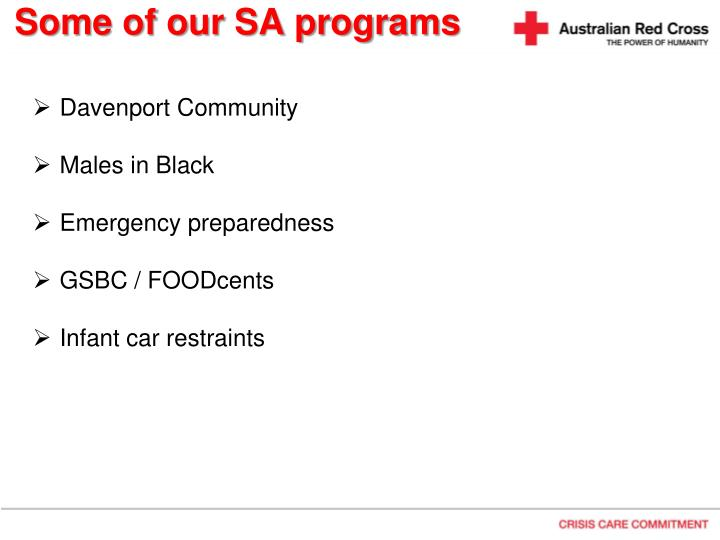 Some of our SA programs