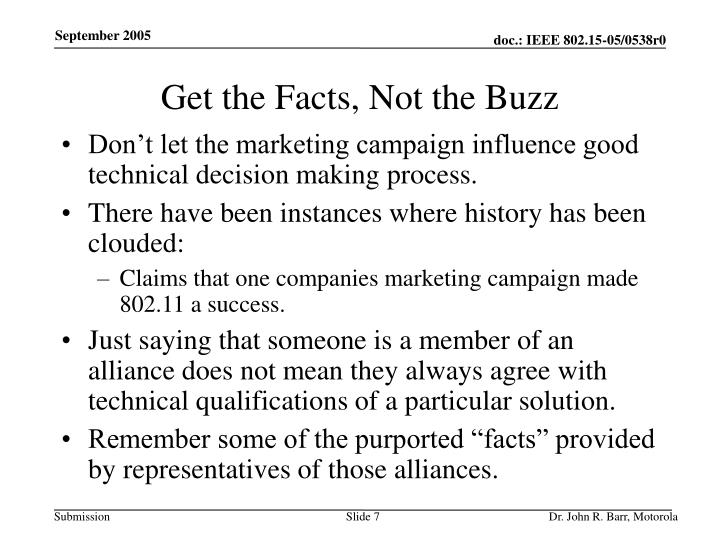 Get the Facts, Not the Buzz