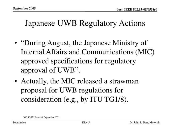 Japanese UWB Regulatory Actions