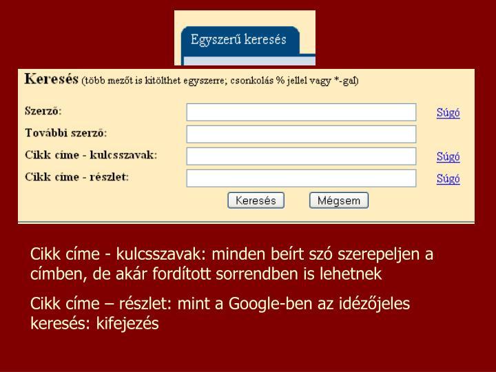 Cikk címe - kulcsszavak: minden beírt szó szerepeljen a címben, de akár fordított sorrendben is lehetnek