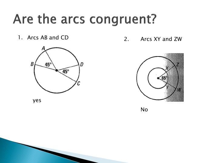 Are the arcs congruent?