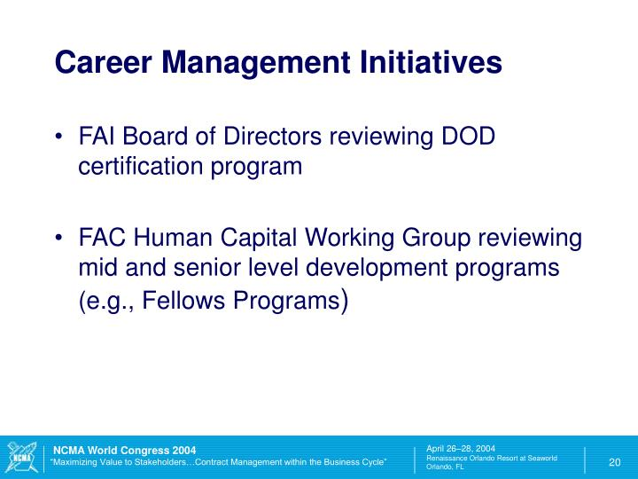 Career Management Initiatives