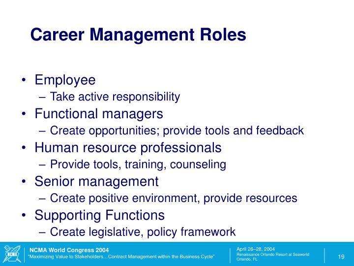 Career Management Roles