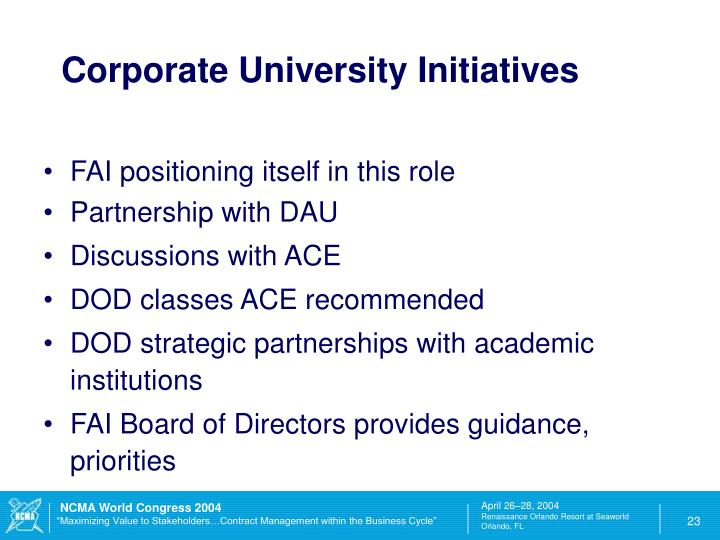 Corporate University Initiatives