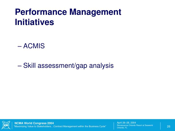 Performance Management Initiatives
