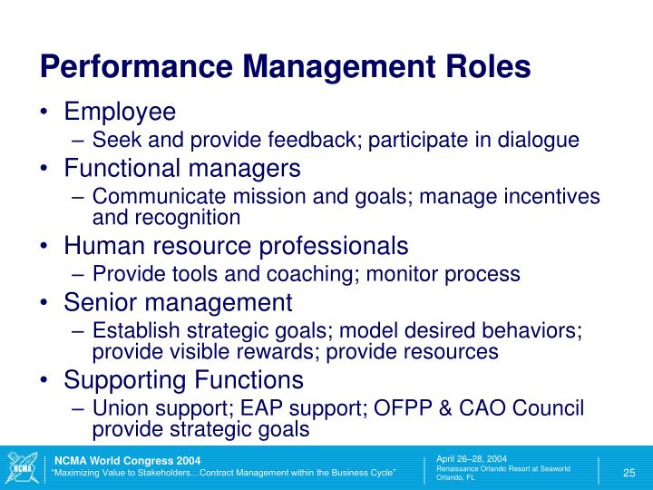 Performance Management Roles