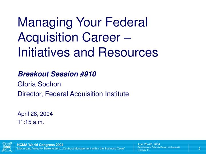 Managing Your Federal Acquisition Career –