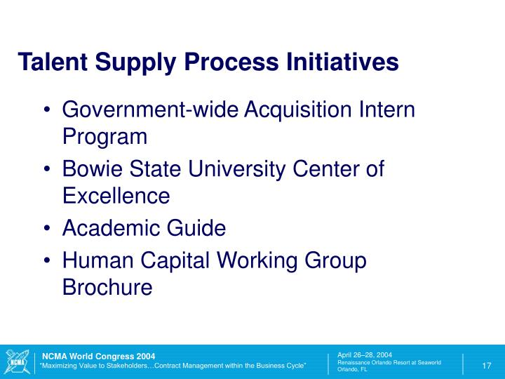 Talent Supply Process Initiatives
