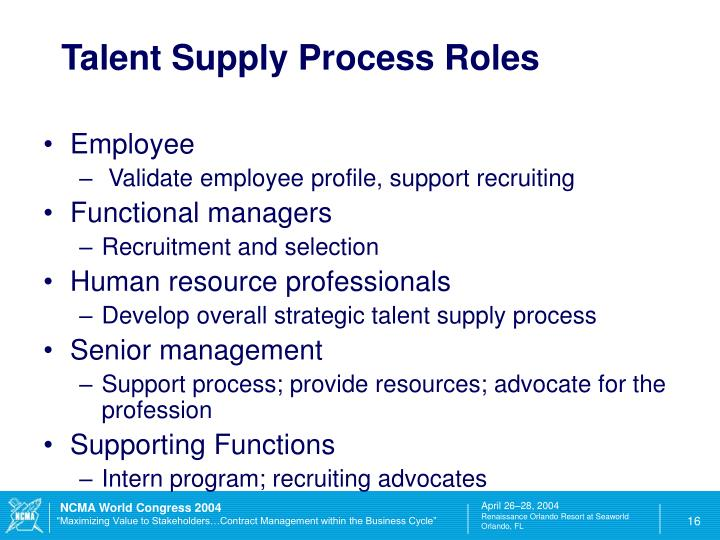 Talent Supply Process Roles
