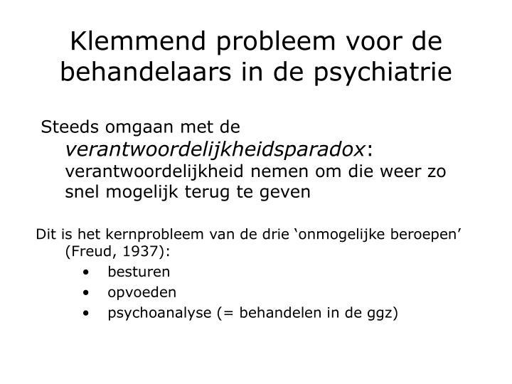 Klemmend probleem voor de behandelaars in de psychiatrie