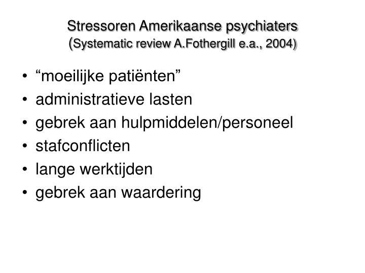 Stressoren Amerikaanse psychiaters