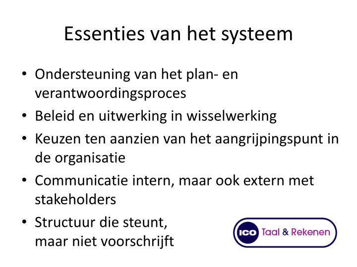 Essenties van het systeem