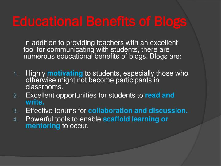 Educational Benefits of Blogs