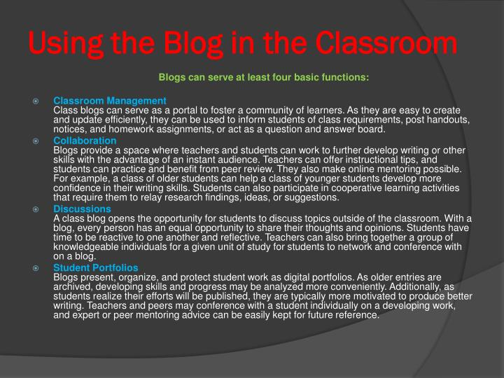 Using the Blog in the Classroom