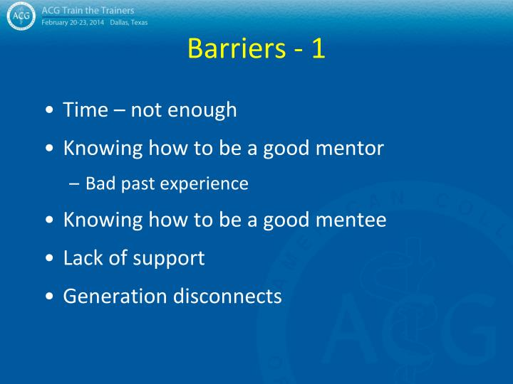 Barriers - 1