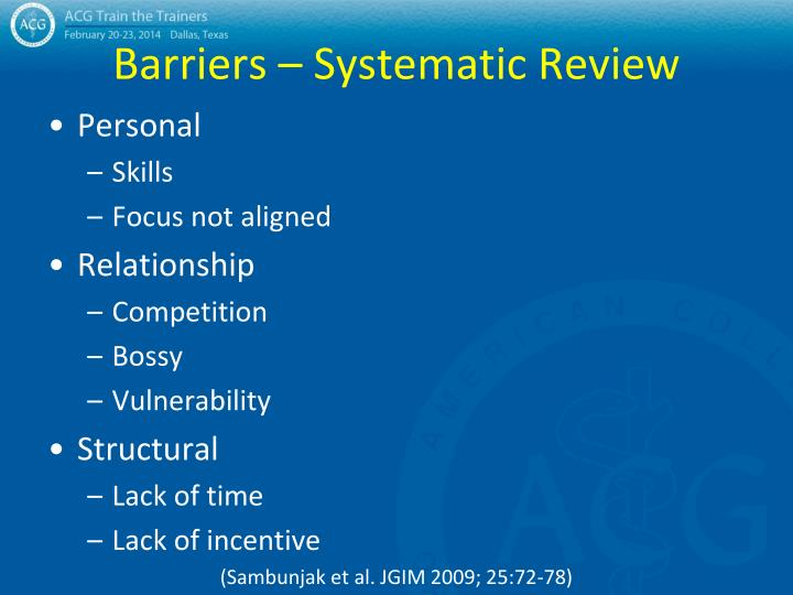 Barriers – Systematic Review