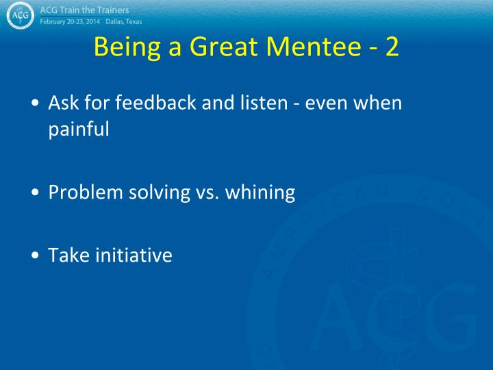 Being a Great Mentee - 2