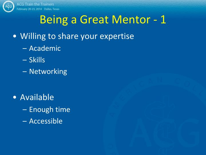 Being a Great Mentor - 1