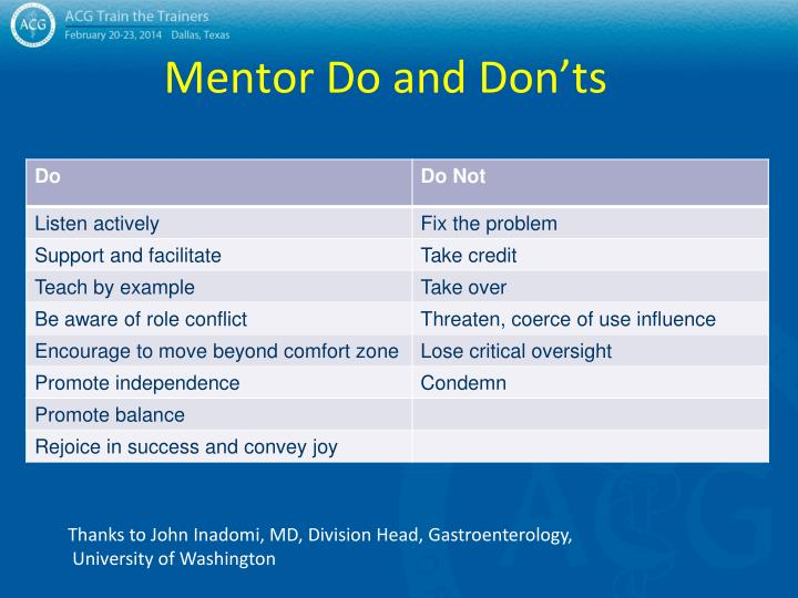 Mentor Do and Don'ts