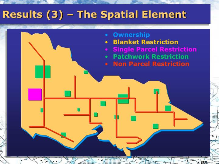 Results (3) – The Spatial Element