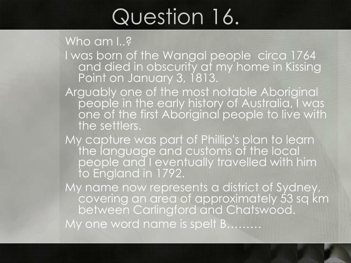 Question 16.