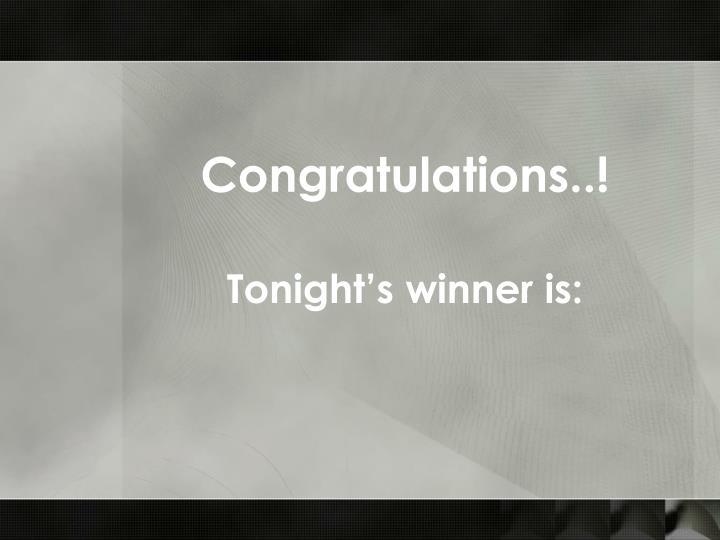 Congratulations..!