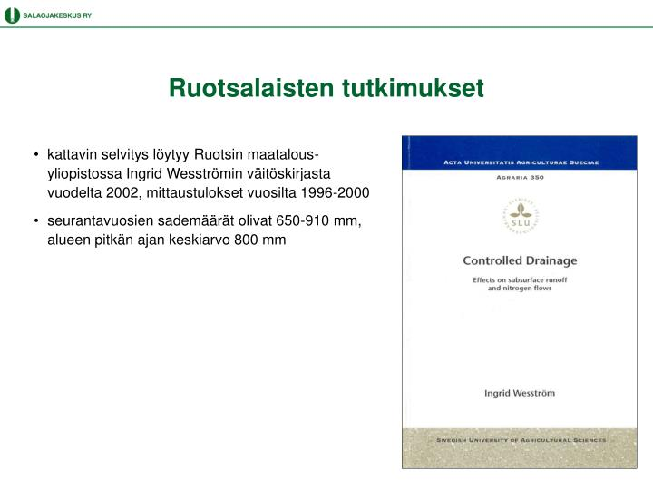 Ruotsalaisten tutkimukset