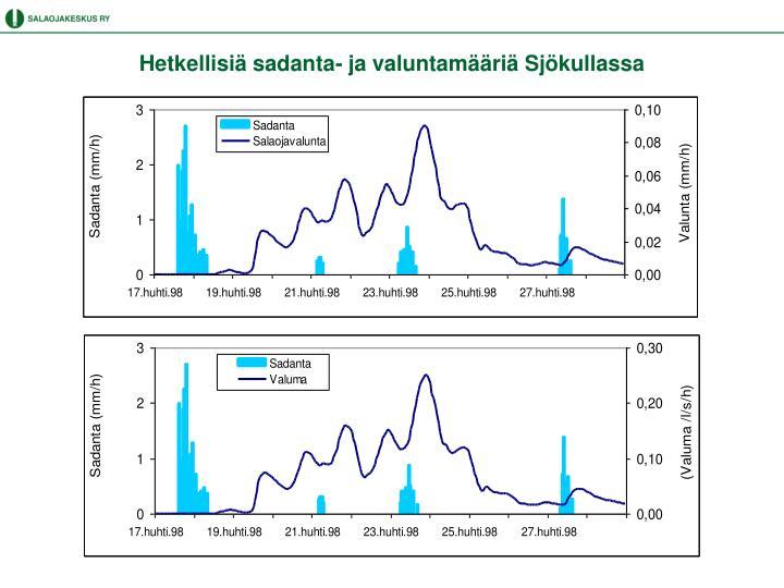 Hetkellisiä sadanta- ja valuntamääriä Sjökullassa