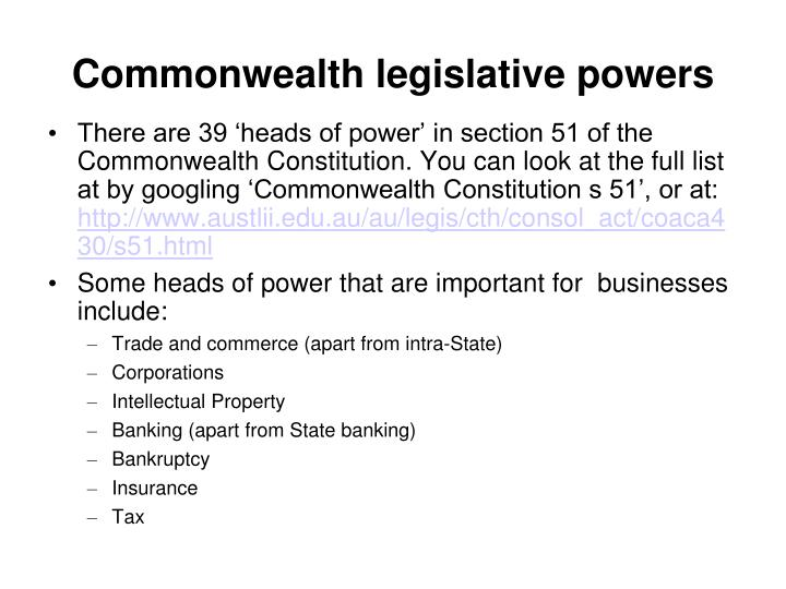 Commonwealth legislative powers