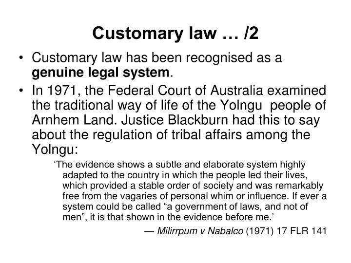 Customary law … /2